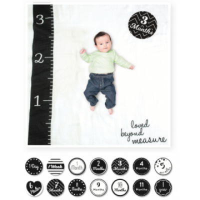 Lulujo Baby's First Year Swaddle & Cards Black/White