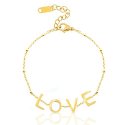 """RVS Stainless steel armband """"love"""" Goud"""